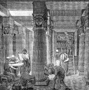 Biblioteca antică din Alexandria; desen de O. Von Corven